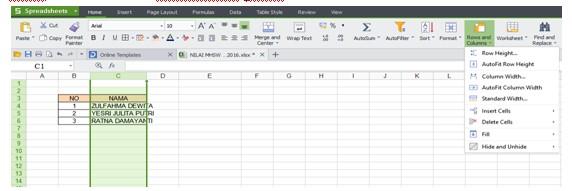 Berbagai Cara Mengatur Ukuran Sel di Spreadsheet dan Excel ...