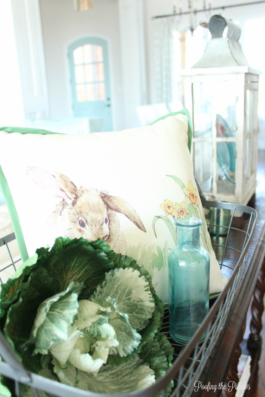 Hello Sunshine! Hello Spring! Coffee table vignette at Poofing the Pillows.