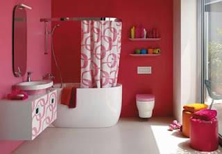 Thiết kế phòng tắm với tông màu đỏ