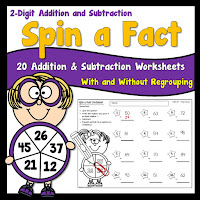 20 Spin a Fact Worksheets using 2 digit numbers