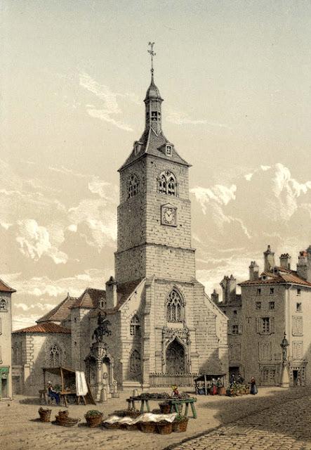 Vue de l'église et place Saint-Epvre et la statue équestre de René II de Lépy en 1861