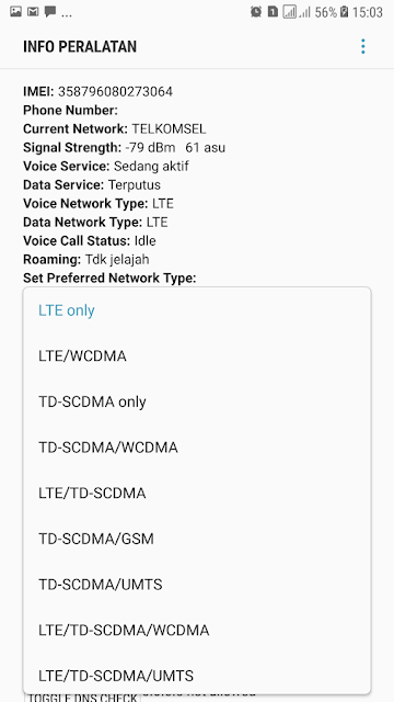 3. In part set preferred network type, select LTE Only