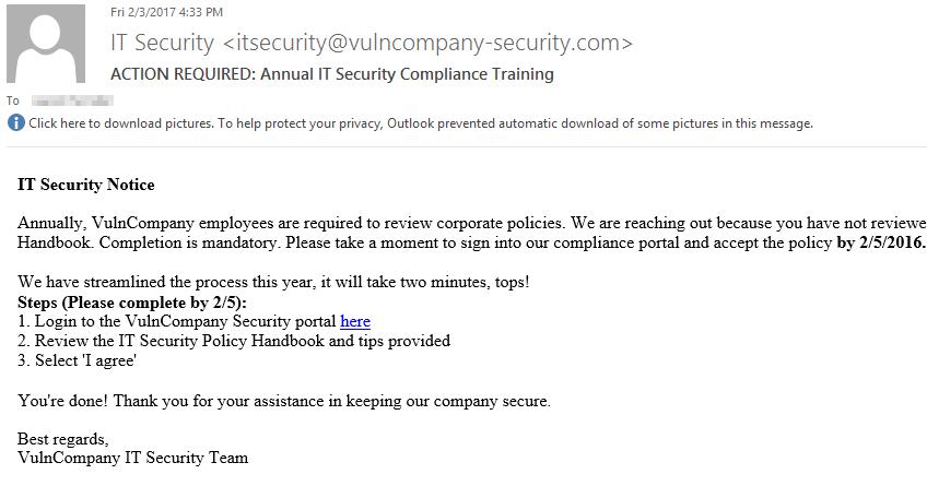 Annual Security Training Phishing Pretext