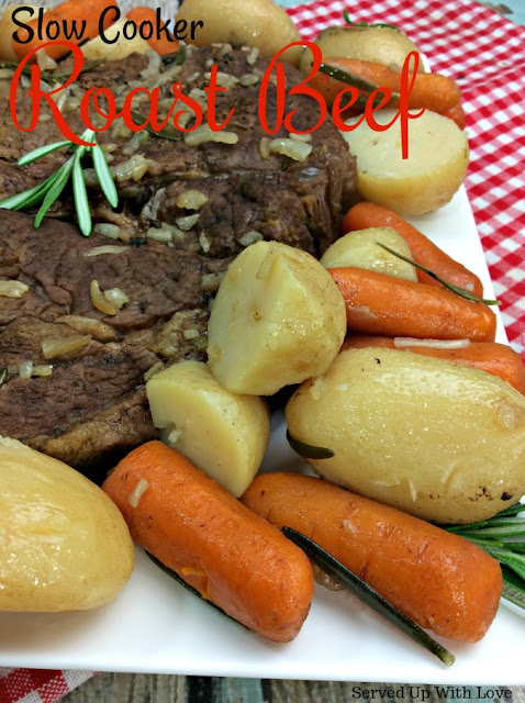Slow Cooker Roast Beef recipe from Served Up With Love is the ultimate comfort food to feed your family. Its the perfect Sunday supper recipe.