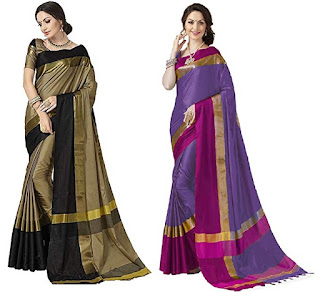Women's Pack of 2 Saarees Cotton Silk Saree With Blouse
