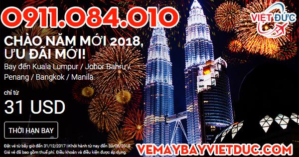 Khuyến mãi chào năm mới giá 31 usd từ Air Asia