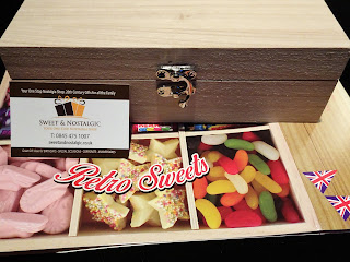 wooden box with retro sweets