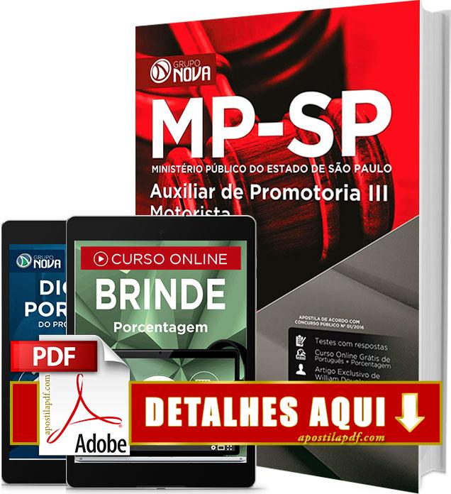 Apostila MP SP 2016 Auxiliar de Promotoria III Motorista Impressa