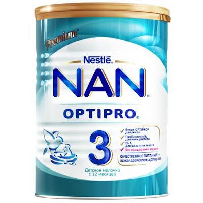 Sữa NAN 3 hộp 400 gr từ 12 tháng tuổi trở lên - Sữa NAN Nga xách tay chính hãng