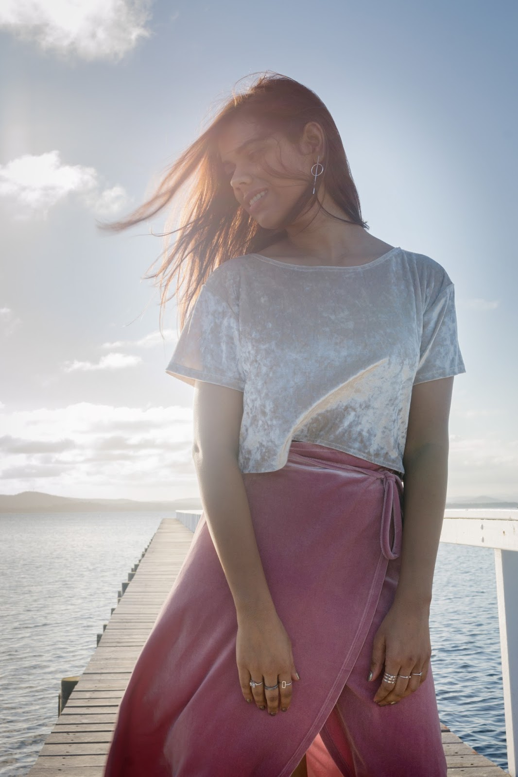 Velvet summer skirt on Long Jetty