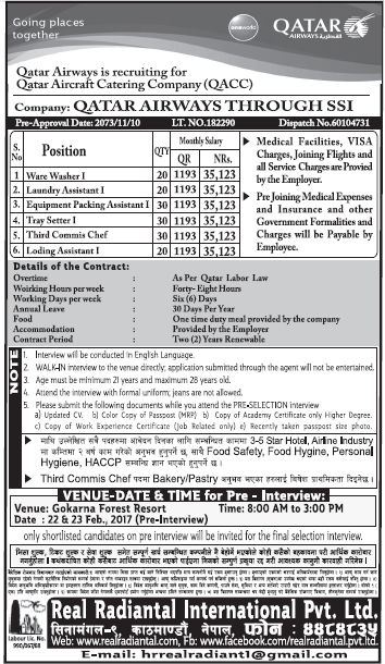 Jobs in Qatar Airways for Nepali, Salary Rs 35,123