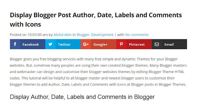 Display Author, Date, Labels and Comments in Blogger