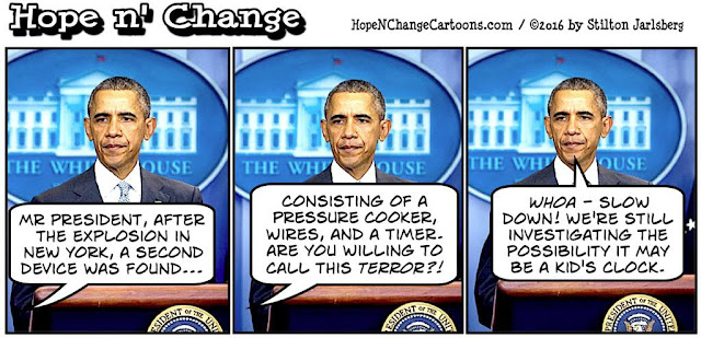 obama, obama jokes, political, humor, cartoon, conservative, hope n' change, hope and change, stilton jarlsberg, terror, new york, chelsea, bomb, pressure cooker