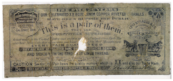 The first model of Levi's jeans - Ticket