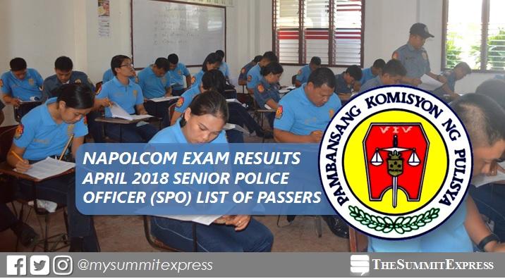 Senior Police Officer (SPO) Passers: April 2018 NAPOLCOM exam results