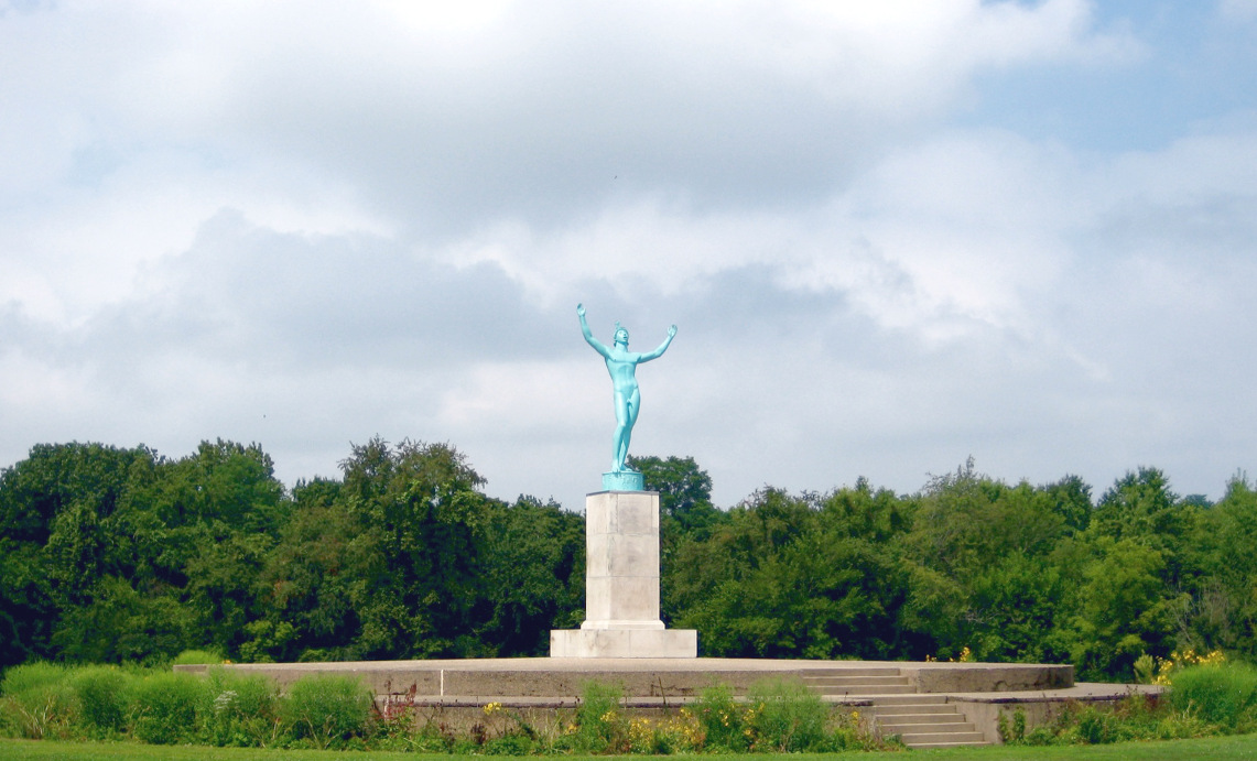 the sun singer sculpture creator carl milles thought the siting of his work was magnificent see a photo of the statue undergoing restoration here