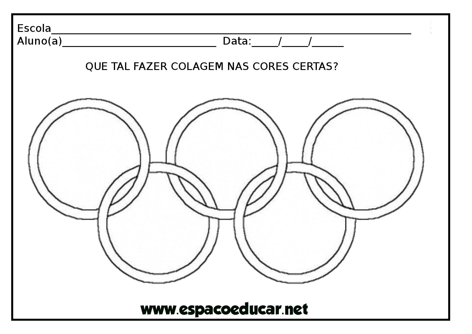 Atividade Sobre As Olimpiadas Colagem Com Crepom Nos Aneis