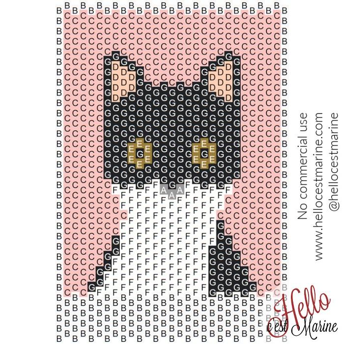 Diagramme du chat félix, bicolore, tuxedo à tisser avec des perles Miyuki delicas 11/0 par Hello c'est Marine