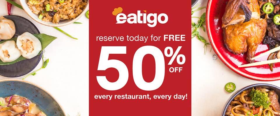 Get as much as 50% off with the Eatigo App