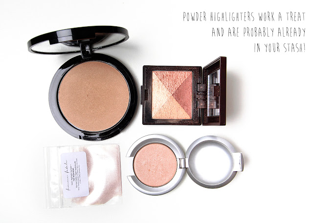 powder highlighters from rouge bunny rouge, Lorac, Laura Mercier and FFC