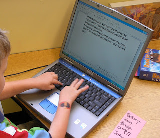 Typing on a laptop (Brick by Brick)