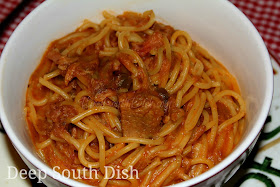 BBQ Sketti, a spaghetti made with leftover pulled BBQ pork, chicken or beef.