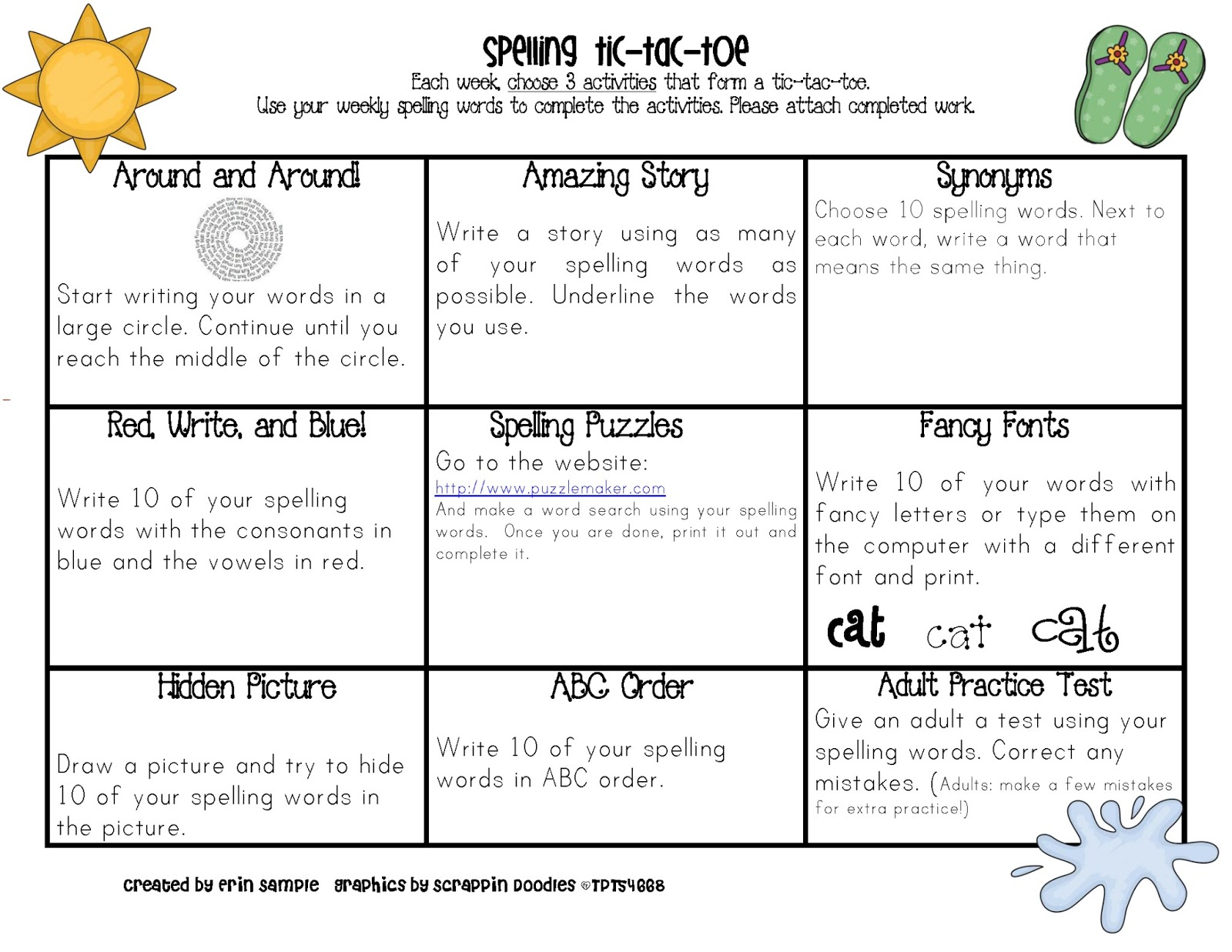 Sample's Superstars: Spelling Tic Tac Toe for each month of