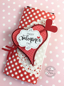 Red Checked Valentine's Day Candy Bar Wrapper