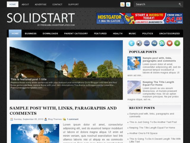 SolidStart Blogger Template