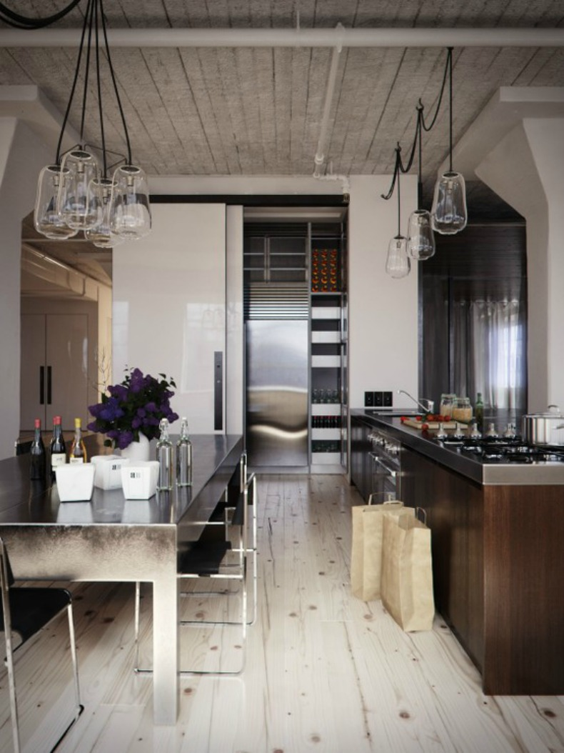 Wood grain floors, coastal glass light fixtures,weather washed gray wood ceiling,masculine beach house kitchen