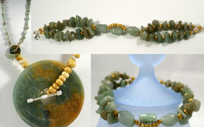 Jade set: necklace & bracelet (jade doughnut, vintage jade nuggets, gold wire, silver clasp) :: All Pretty Things
