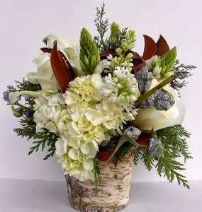 White Holiday Birch Custom Floral Arrangement