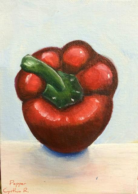 chile dulce, pintura acrílica en canvas