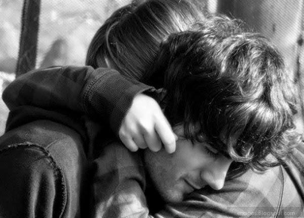 Tight hug couple cute romantic deep affection