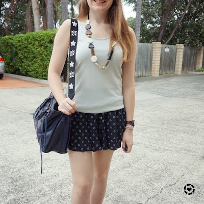 awayfromtheblue instagram rebecca minkoff regan bag and embellished guitar strap with metallic tank soft shorts