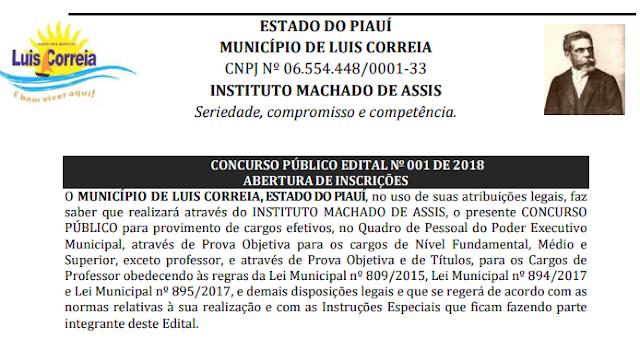 Prefeitura de Luis Correia lança edital para Concurso Púbico com 110 vagas.