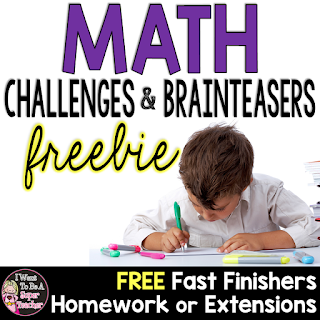 A free math challenge product for grades 2-4 - PLUS a simple way to use these to differentiate for students who need a challenge in math!