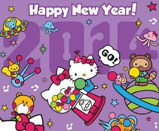 Gambar Hello Kitty Terbaru Happy New Year Ucapan Selamat Tahun Baru Wallpaper HD Ungu