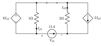 Superposition - Circuit avec sources dépendantes - Contribution de la source de courant 11A
