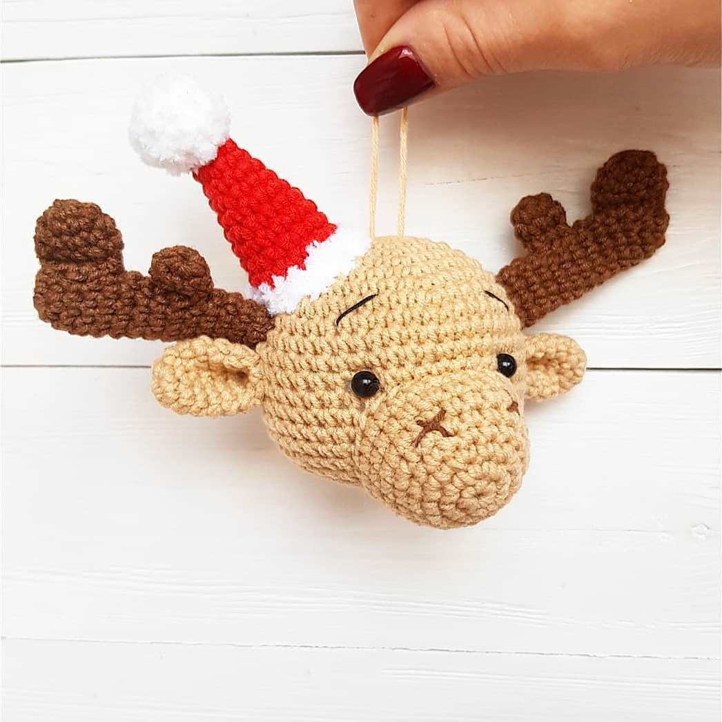 Crochet elk head Christmas ornament