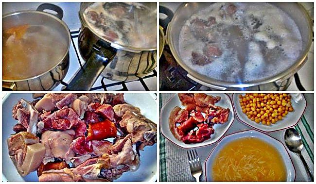 Preparación del cocido madrileño