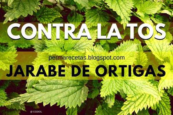 Jarabe para la tos hecho con hojas frescas de ortigas y agua, medicina natural
