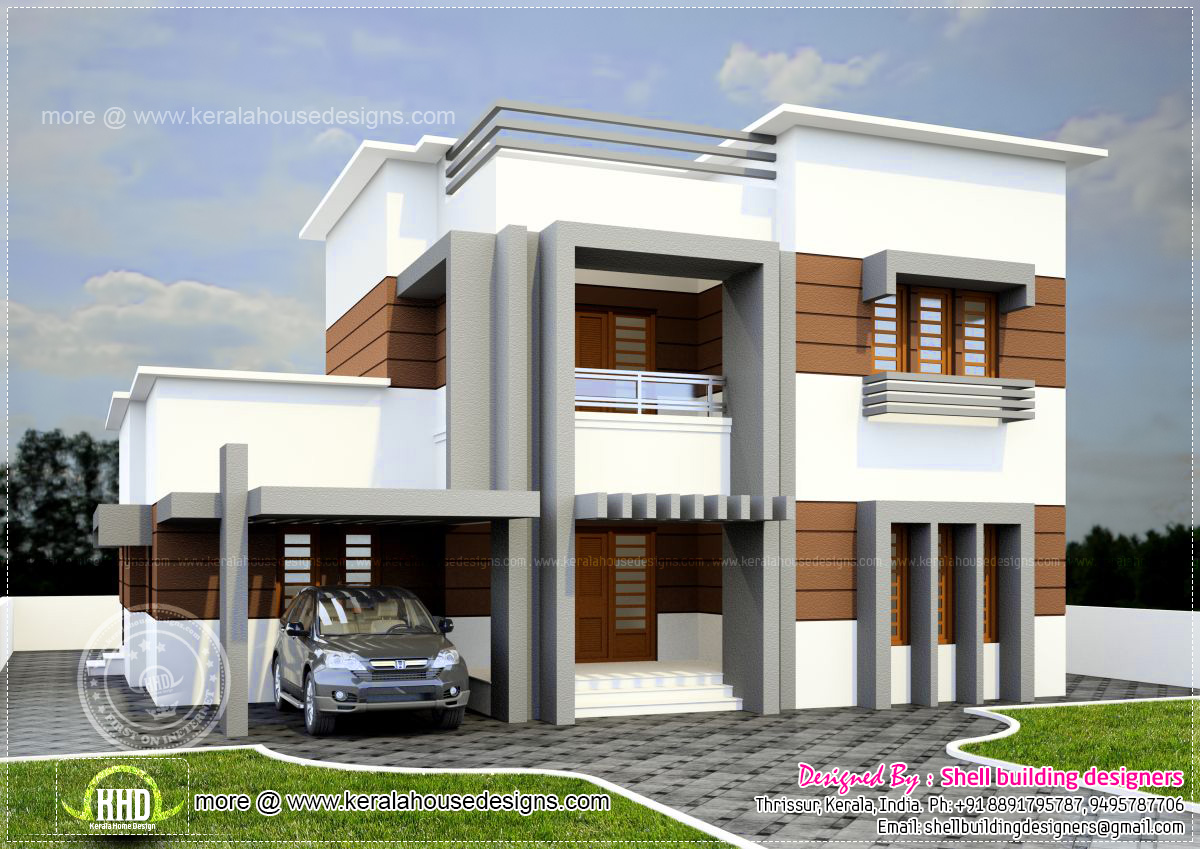 2560 square feet flat roof villa house design plans for Flat roof elevation