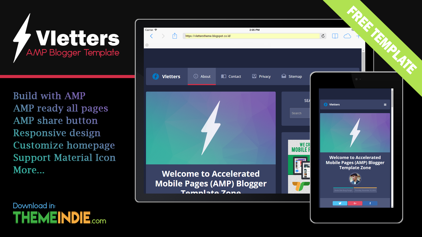 Accelerated Mobile Pages (AMP) Blogger Template - VlettersAMP
