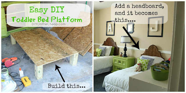 Build an easy toddler bed platform - tutorial via DIYOntheCheap.com