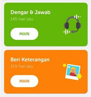 Latihan listening klub pada Duolingo