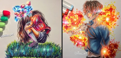 00-chiizu-art-Drawing-Dark-Subjects-Bursting-with-Color-www-designstack-co