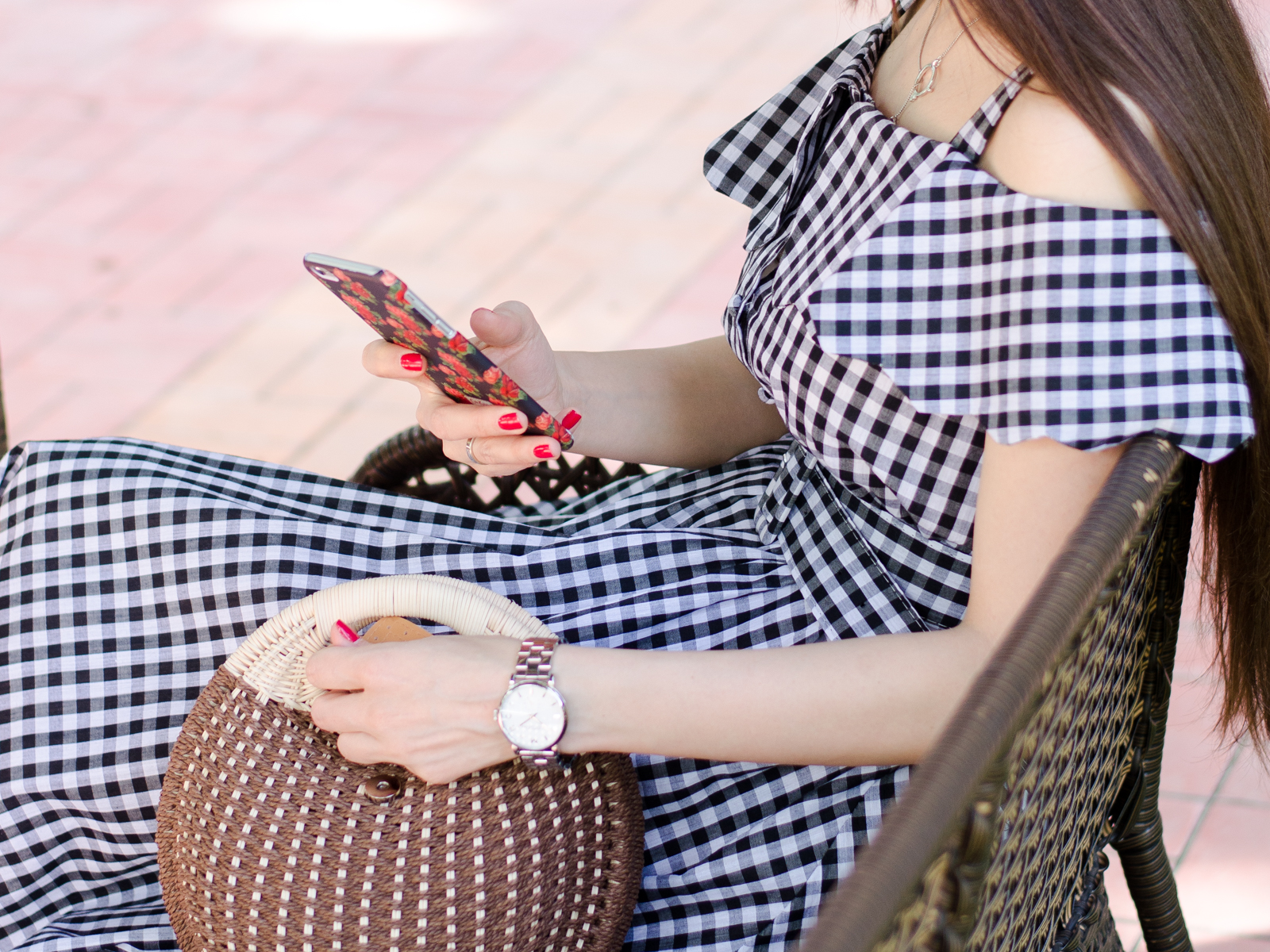 fashion blogger style fashion tashkent diyorasnotes diyora beta lookoftheday white sneakers casual Checkerboard Fold Over Cold Shoulder Dress