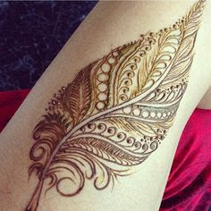 Feather Mehndi For Bridal