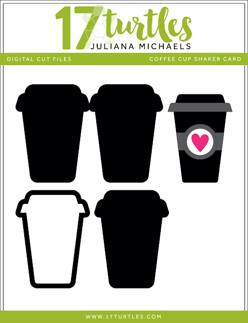 Coffee Cup Shaker Card Free Digital Cut File by Juliana Michaels 17turtles
